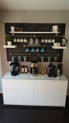Coffee bar ikea fintorp ikea lack keurig nespresso french press ikea malm painted chalkboard wall