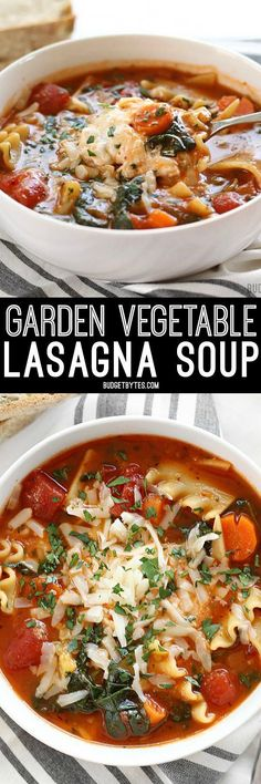 Garden Vegetable Lasagna soup with a colorful vegetable medley and a melty three cheese ricotta blend in each bowl.