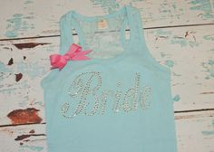 Bride Shirt Tank Top with lace and bow, Bridesmaid, Maid of Honor. Tiffany Blue on Etsy, $16.50