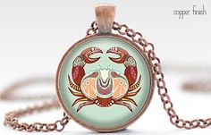 Cancer Necklace, Zodiac Jewelry, Cancer Charm, Astrology Pendant, Your Choice of Finish (491)