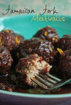 Jamaican jerk meatballs. The meatballs are great, but the sauce was terrible. I may try again using balsamic vin instead of white vin.
