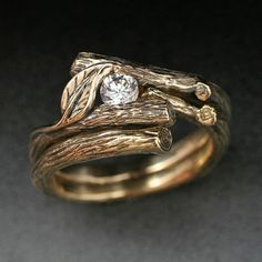 KIJANI WEDDING SET - Natural Diamond.  Engagement Ring with Matching Wedding Band.  Done in 14k yellow or white gold