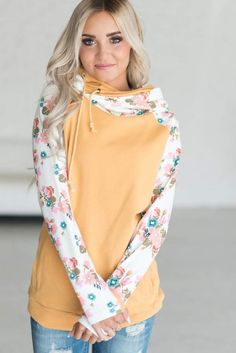4dc3486aa1 DoubleHood™ Sweatshirt - Mustard Floral - I am in love with this  sweatshirt- awesome for watching soccer game marathons!