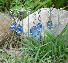 Wire Wrap Plant Stakes Garden Art Whimsy Fairy Garden Blue Gems Plant Marker