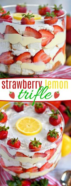 Lemon Strawberry Trifle - A no bake trifle recipe that is loaded with fresh strawberries, angel food cake, and lemon pudding - Mom On Timeout