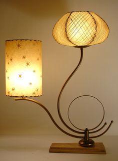 Amazing Vtg 50s Majestic Mid Century Modern Atomic Fiberglass Shades Retro Lamp   eBay