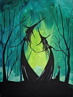 Adorable Witch Sisters In The Woods - Easy Halloween Painting - Gallery - The Art Sherpa Community Witch Painting, Witch Drawing, Witch Art, Painting & Drawing, Halloween Canvas Paintings, Easy Canvas Painting, Halloween Painting, Canvas Art, Halloween Rocks