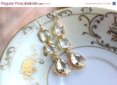 Crystal Earrings Gold Plated Clear Three Tier Crystal by laalee