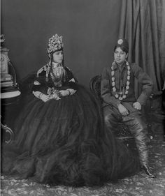 Vintage Nepal ~ Rare Old Pictures, Videos and Arts of Nepal    King Prithvi Bir Bikram Shah, (18 Aug, 1875 – 11 Dec, 1911) with his wife, Maili Bada Maharani. She was the mother of King Tribhuvan and daughter of Rana Prime Minister Bir Shamser JBR.    Note: King Prithvi was married to two daughters of Bhir Shumsher. All together he had four wives.