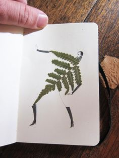 I'm loving these figurative sketchbook illustrations created around the forms of pressed leaves. They showed up in the Tumblr of the Sketching Backpacker who has some serious chops when it comes to documenting their travels using paint, collage, pencil, or anything else available, I def