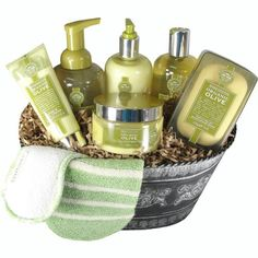 Luxury Spa Pampering Gift Basket with Organic Olive Oil Products -   - http://giftbasketblessings.com/product/luxury-spa-pampering-gift-basket-with-organic-olive-oil-products/