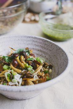 mushroom and pistachio pesto farro