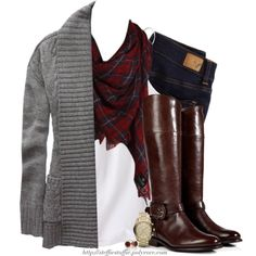 """Gray cable knit cardigan & British checkered scarf"" by steffiestaffie on Polyvore"