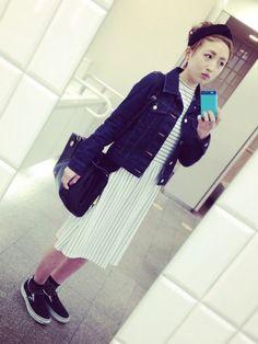 ボーダーハイネックワンピとデニムジャケット ♡10代のファッション スタイルの参考コーデまとめ♡