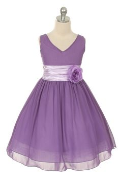 Lavender: Simple yet elegant lavender chiffon dress with a shiny satin waistline. The lovely dress falls below the knee and is perfect for any occasion! $39.00