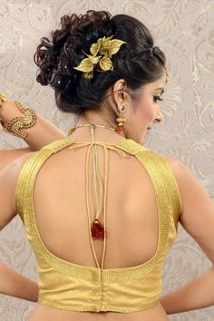 #Gold raw #silk plain #blouse in front u neck-BL511
