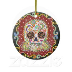 Day of the Dead Skull Ornament | Zazzle.co.uk