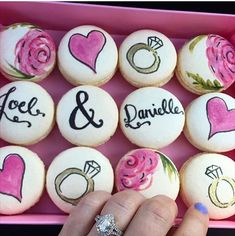 What could be more perfect than custom hand painted macaroons and a beautiful custom diamond ring? I love it.