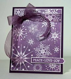 Could versamark the snowflakes and clear emboss, then smooch spritz or ink over top for a resist effect. Add a little shimmer too Christmas Card Crafts, Xmas Cards, Christmas Greetings, Holiday Cards, Greeting Cards, Holiday Ideas, Christmas Ideas, Snowflake Cards, Snowflakes