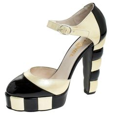 Chanel Black/cream Striped Patent Buckskin Ankle Strap Platform Pumps Size 38 #platformpumpsanklestraps #maryjaneplatformpumps #platformpumpspeeptoe #platformpumpsheels #platformpumpsbeige #platformpumpsoutfit Heels Outfits, Silver Heels, Chanel Black, Ankle Straps, Platform Pumps, Black Cream, Everyday Look, Natural Leather, Patent Leather