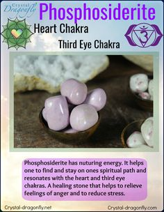 Metaphysical properties of tumbled Phosphosiderite from Crystal Dragonfly. A Heart Chakra & Third Eye Chakra stone!