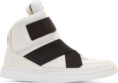 Johnlawrencesullivan White Leather High-Top Sneakers