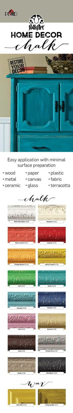 FolkArt® Home Decor™ Chalk is an ultra matte, no prep chalk finish paint in 16 colors and 2 wax finishes! So awesome to create a distressed look for furniture, home decor and craft projects.