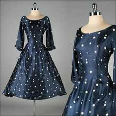 Vintage 1950s Dress . MOLLIE PARNIS . Blue Satin . Polka Dots . Full Skirt .