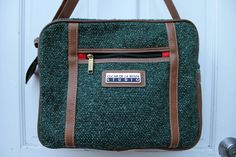 Vintage Oscar de la Renta Green Tweed Medium Sized Book Bag Unisex w/ Luggage Tags