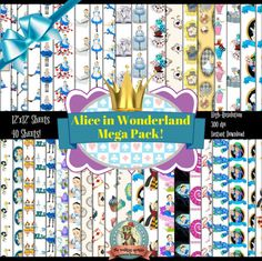 Check out this item in my Etsy shop https://www.etsy.com/listing/519146007/alice-in-wonderland-scrapbook-paper