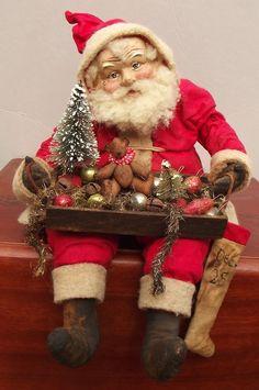 Handmade Santa Claus By Kim Sweet~Kim's Klaus~Holding Wooden Box Stuffed With Antique Tinsel Garland~Rusty Jingle Bells~Vintage Mercury Glass Bead ornaments & Tiny Handmade Teddy Bear