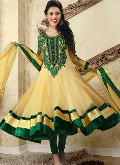Astonishing Cream And Green Net Anakali Suit @ $184