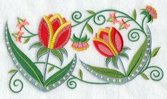 Jacobean Tulips Embroidery http://www.emblibrary.com/el/Products.aspx?CS_ProductID=c8049_Catalog=Emblibrary