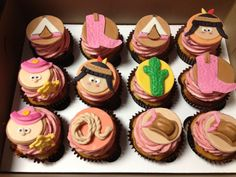 Cowboy and Indian cupcakes