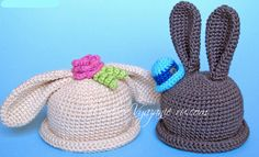 Шапочка Зайка с длинными ушками - 5 описаний - Crochet Modnoe Vyazanie