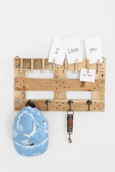 Pallet Wall Hook, Urban Outfitters... DIY? upside down for socks/accessories