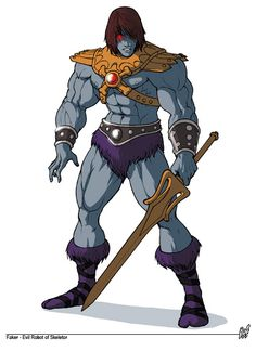 Originally built by Man-At-Arms to cover for He-Man when Prince Adam is needed, Faker was abandoned after his first mission in the royal junk yard and salvaged by the evil warrior Tri-Klops. At the request of Skeletor, Faker was reprogrammed to replace He-Man and convince the people of Eternia that He-Man had betrayed King Randor and turned to evil.