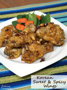 """Korean Sweet and Spicy Chicken Wings are the perfect combo of sticky sweetness and red chili spice. With baked """"fried"""" and traditional deep fried versions, this recipe makes a great game day appetizer!   www.CuriousCuisiniere.com"""