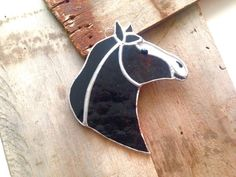 Country home decor horse gift glass by SunDogArtAndGlass on Etsy Glass Cutter, Equestrian Decor, Stained Glass Suncatchers, Animal Room, Horse Gifts, Brown Horse, White Stain, Glass Design, Black Glass