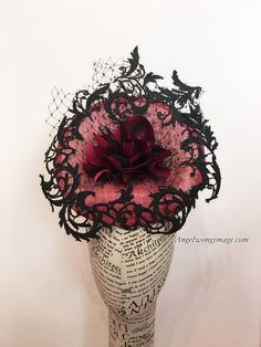 Black lace red fascinate hat wedding hat Melbourne cup derby