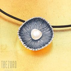 AU$65. Nymphaea Alba Pendant. Oxidised Sterling Silver with Pearl. Worldwide shipping. Oxidized Sterling Silver, Sterling Silver Chains, Sterling Silver Pendants, Pearl Pendant, Dark Colors, Leather Cord, Botanical Gardens, Pearl White, Contemporary Style