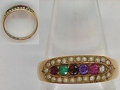 15ct Gold REGARD & Pearl Ring 1881.Ruby, Emerald, Garnet, Amethyst, Ruby and Diamond, spelling out the word REGARD. The recipient of this ring knows that the donor holds her in high regard. Delightful example of late Victorian symbolic jewellery. Set in 15ct Gold and Hallmarked for Birmingham 1881
