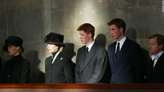 The royal family stand vigil besides the Queen Mother's coffin at Westminster Hall on April 8, 2002.