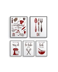 Funny Red Brown Kitchen Wall Decor, Red Kitchen wall art prints set, Kitchen prints, Modern Home Decor, Dining room decor