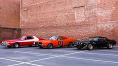 """Ford Gran Torino (with custom """"vector"""" stripe, from Starsky & Hutch), Dodge Charger (The General Lee from The Dukes of Hazzard), and Pontiac Trans Am (from Smokey and the Bandit) Vintage Motorcycles, Cars And Motorcycles, Classic Tv, Classic Cars, Smokey And The Bandit, Starsky & Hutch, Auto Retro, American Muscle Cars, Sexy Cars"""