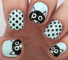 35 Creativos diseños de uñas con puntitos Stylish Nails, Print Tattoos, Nail Art, Beauty, Spa, Cat Nail Designs, Black Acrylic Nails, Dot Nail Designs, Nail Art Designs
