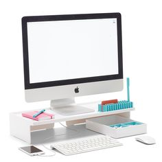 Something like this to organize the desk space. White Monitor Riser - Poppin US Do It Yourself Organization, Office Supply Organization, Storage Organization, Desktop Organization, Organizing Ideas, Windows Phone, Desk Riser, Home Music, Monitor Stand