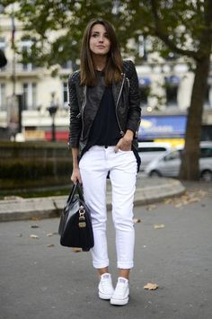 How to wear white jeans? Try with black and white (see 50 ideas by clicking)