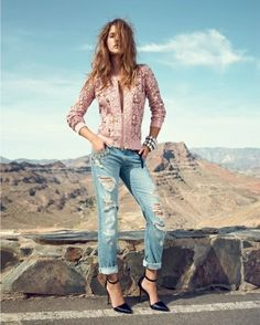 Barbara Palvin For Twin Set In Denim – Spring 2014 love this jacket