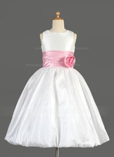 Empire Scoop Neck Tea-Length Taffeta Charmeuse Flower Girl Dress With Sash Flower(s) Bow(s) (010014637) - JJsHouse